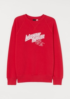H&M H & M - Flock-print Sweatshirt - Red