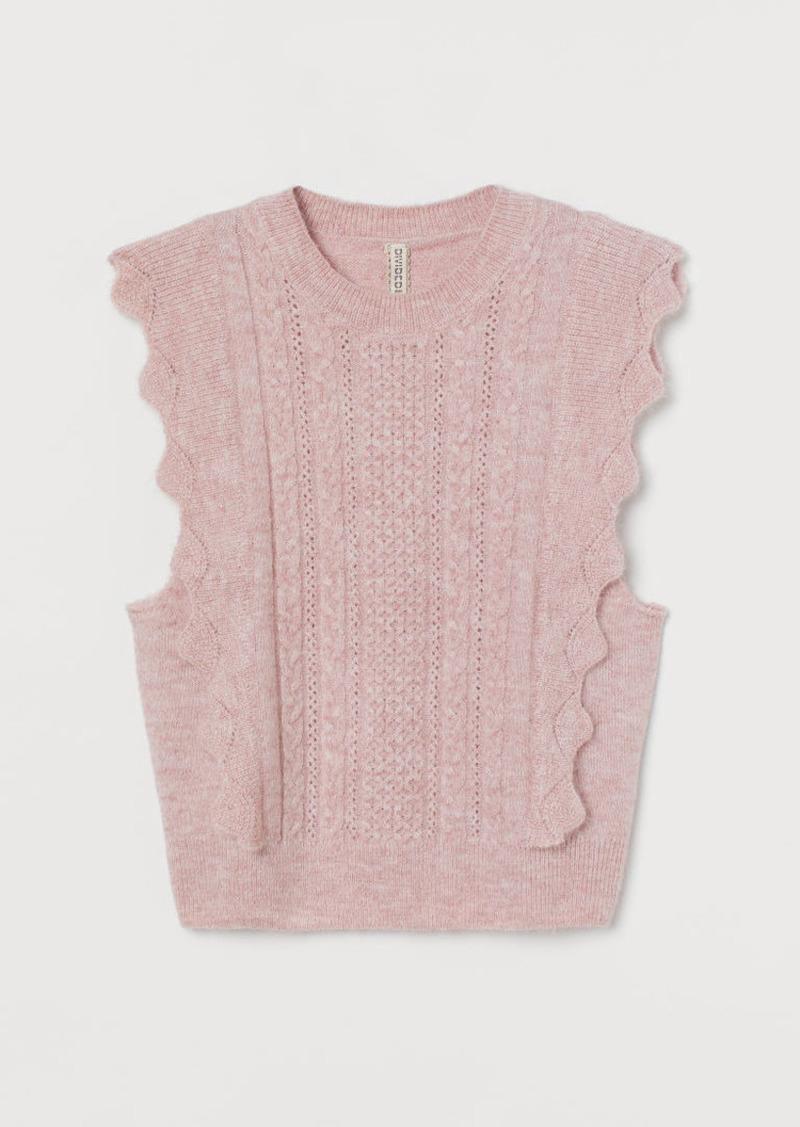 H&M H & M - Flounce-detail Sweater Vest - Pink