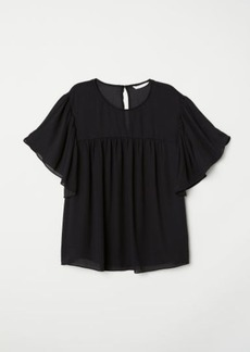 H&M H & M - Flounce-sleeved Blouse - Black