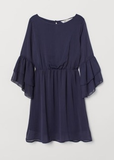 H&M H & M - Flounce-sleeved Dress - Blue
