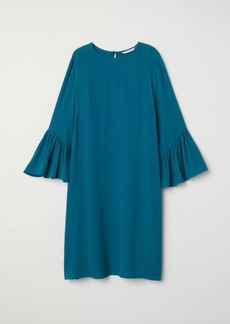H&M H & M - Flounce-sleeved Dress - Turquoise