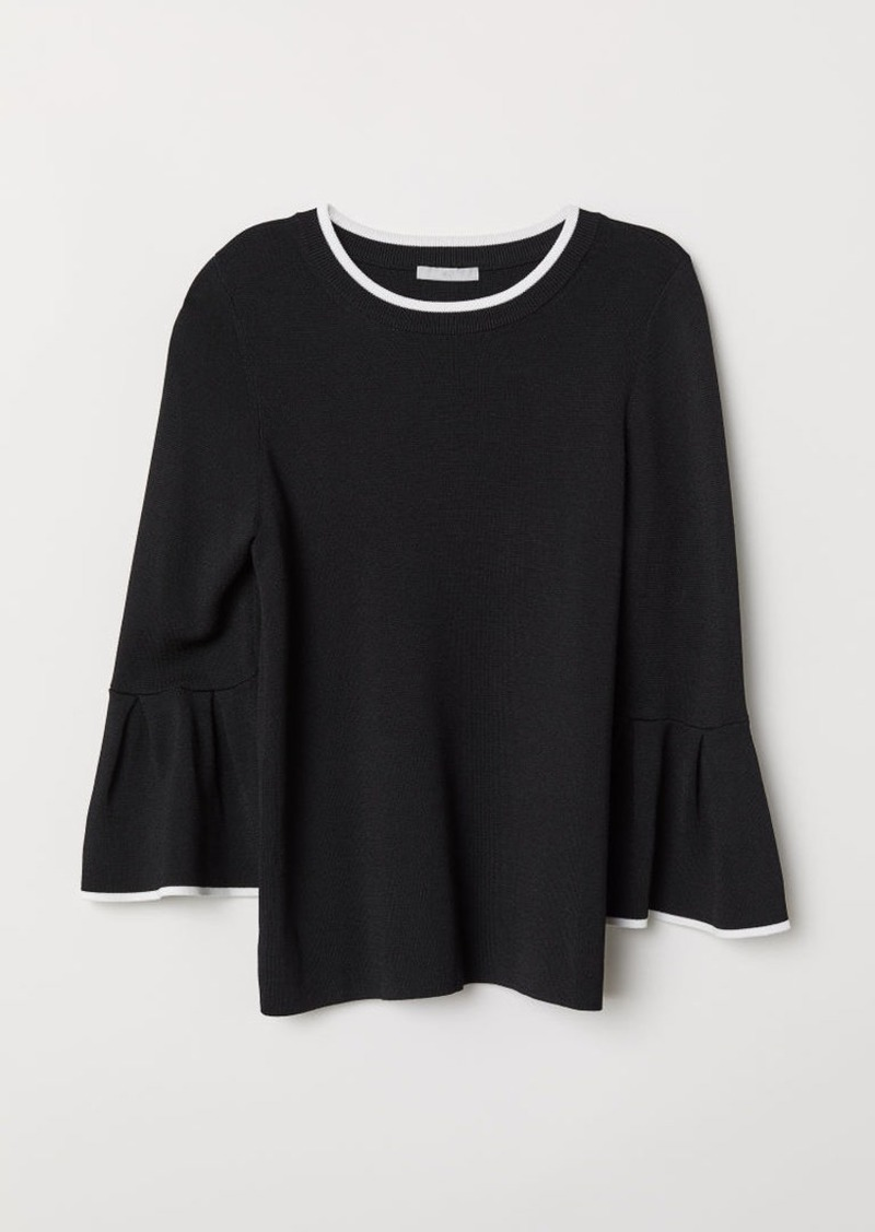 H&M H & M - Flounce-sleeved Sweater - White