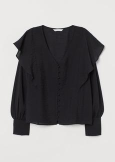 H&M H & M - Flounce-trimmed Blouse - Black