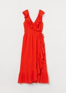 H&M H & M - Flounce-trimmed Cotton Dress - Orange
