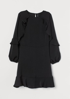 H&M H & M - Flounce-trimmed Dress - Black