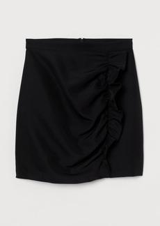 H&M H & M - Flounce-trimmed Skirt - Black