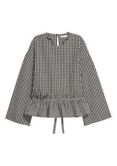 H&M H & M - Flounced Cotton Blouse - Black