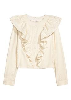 H&M H & M - Flounced Cotton Blouse - White