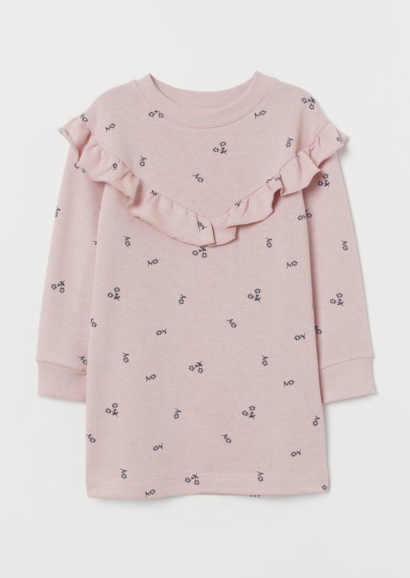 H&M H & M - Flounced Sweatshirt Dress - Pink