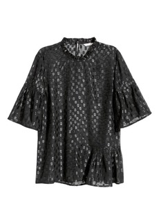 H&M H & M - Flounced Top - Black