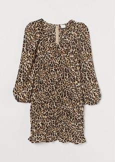 H&M H & M - Gathered Satin Dress - Beige