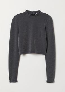 H&M H & M - Glittery Jersey Top - Black