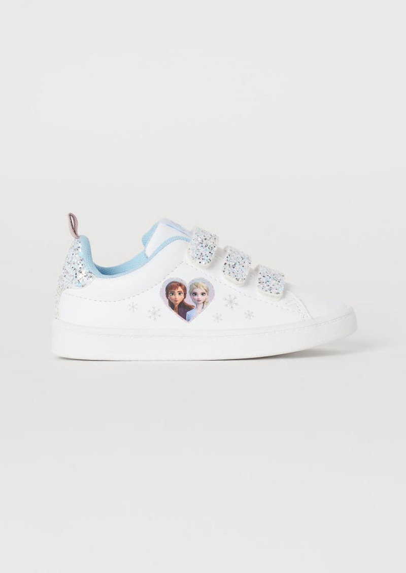 H&M H & M - Glittery Printed Sneakers - White