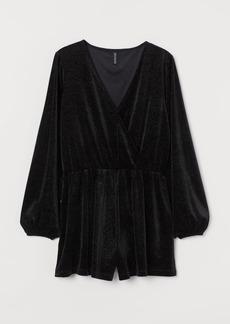 H&M H & M - Glittery Romper - Black