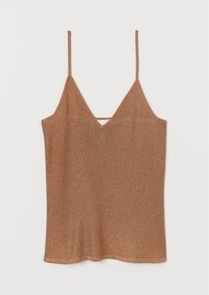 H&M H & M - Glittery Camisole Top - Beige