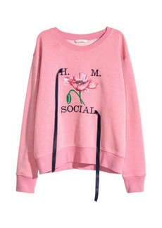 H&M H & M - Glittery Top with Embroidery - Pink