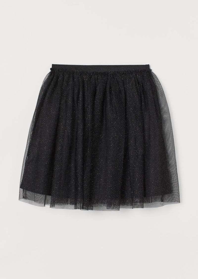 H&M H & M - Glittery Tulle Skirt - Black