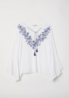 H&M H & M - H & M+ Blouse with Embroidery - White