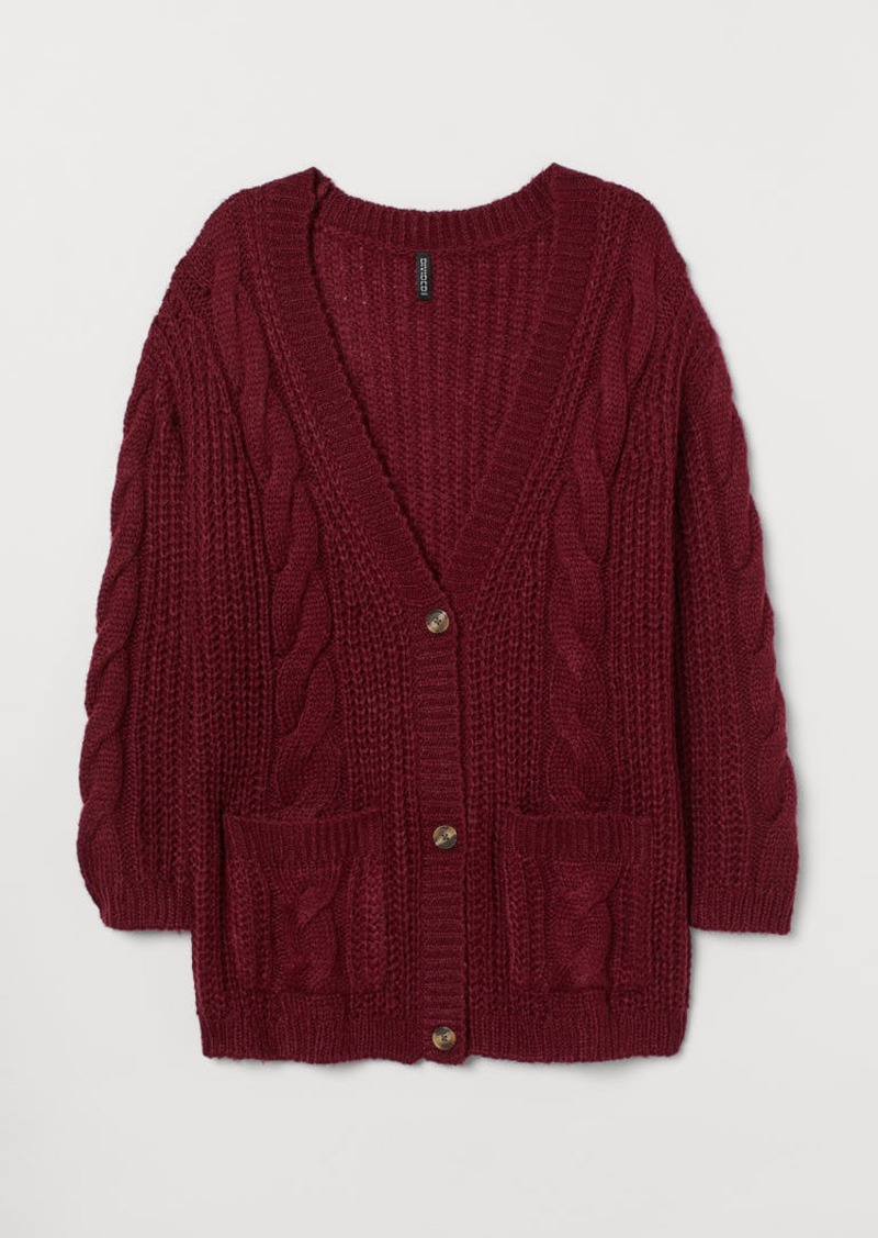 H&M H & M - H & M+ Cable-knit Cardigan - Red