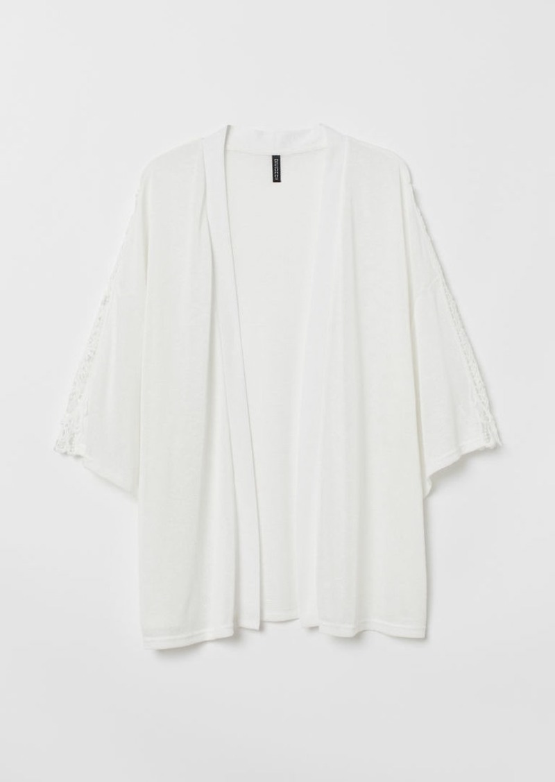 H&M H & M - H & M+ Crochet-trimmed Cardigan - White