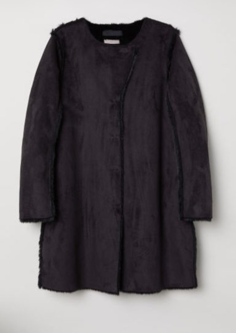 H&M H & M - H & M+ Faux Suede Coat - Black