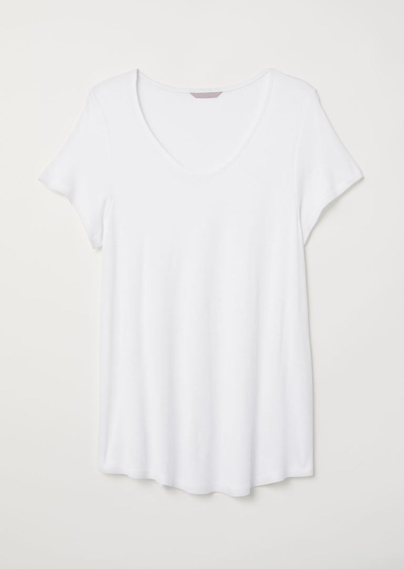 H&M H & M - H & M+ Jersey Top - White