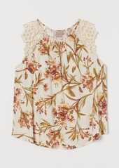 H&M H & M - H & M+ Jersey Top with Lace - Beige