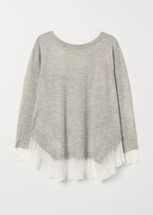 H&M H & M - H & M+ Lace-trimmed Sweater - Gray