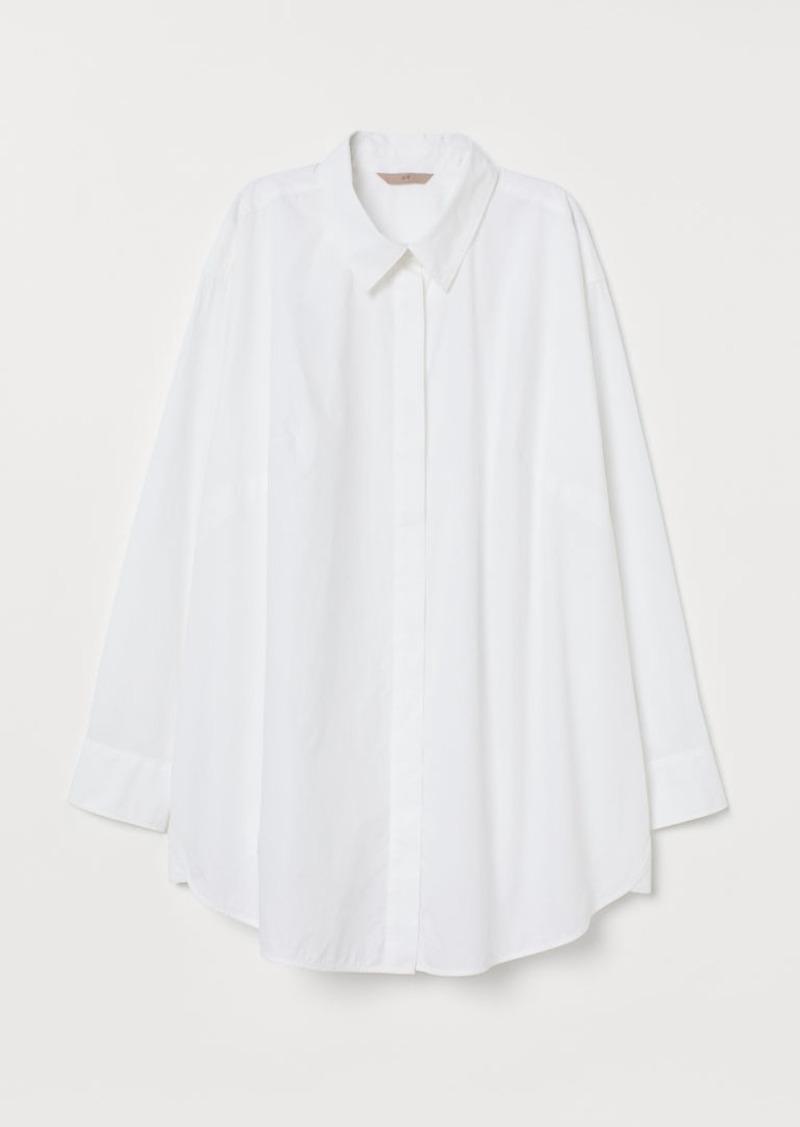 H & M - H & M+ Oversized Cotton Shirt - White