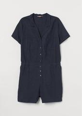 H&M H & M - H & M+ Ramie-blend Jumpsuit - Blue