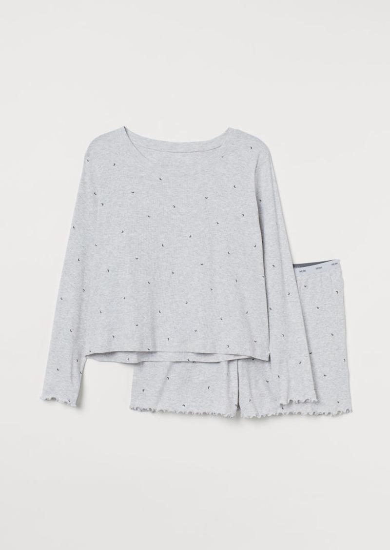 H&M H & M - H & M+ Ribbed Pajamas - Gray