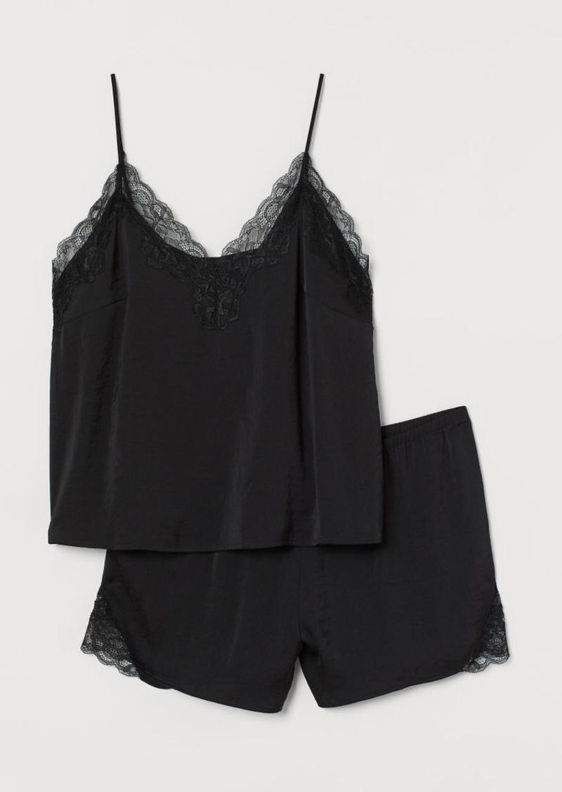 H&M H & M - H & M+ Satin Pajamas - Black