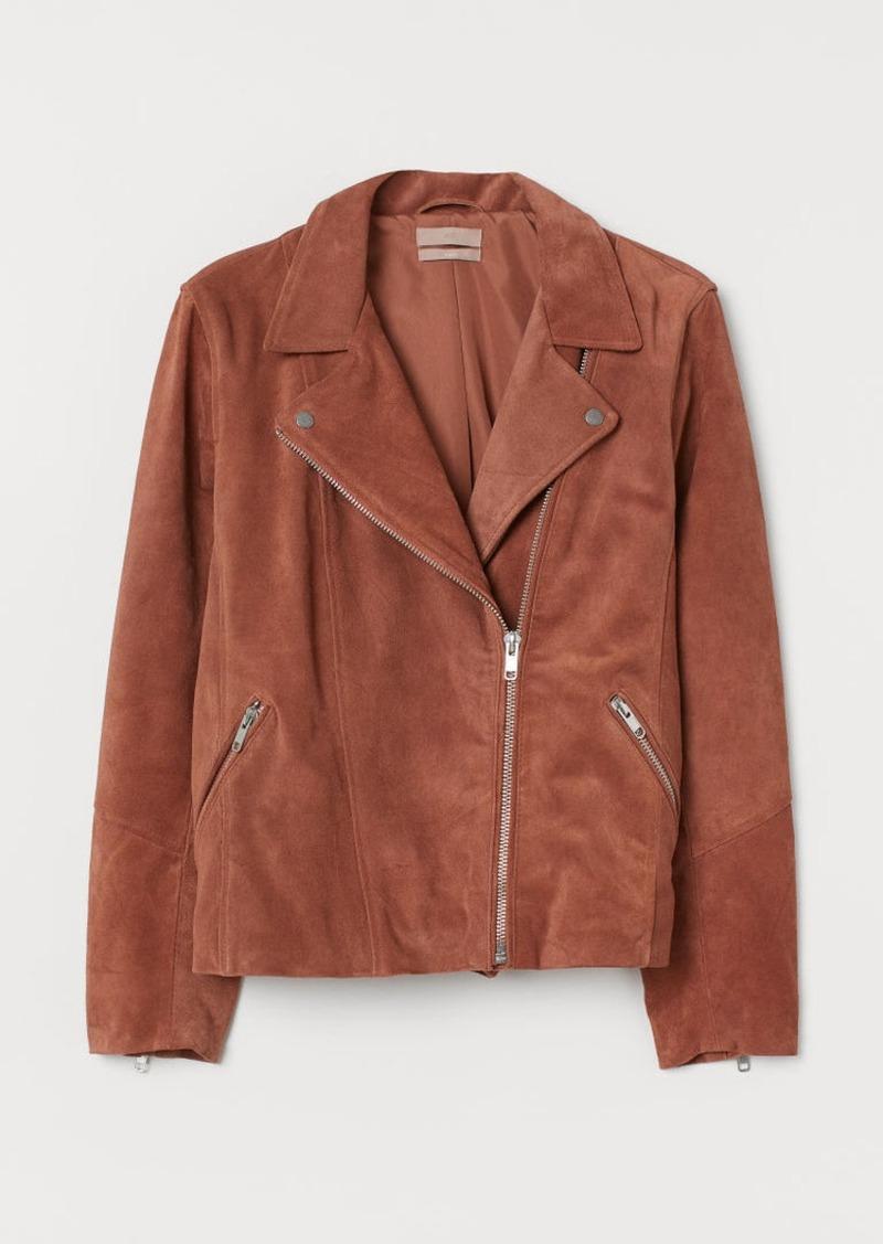 H&M H & M - H & M+ Suede Biker Jacket - Orange
