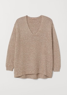 H&M H & M - H & M+ Textured-knit Sweater - Beige