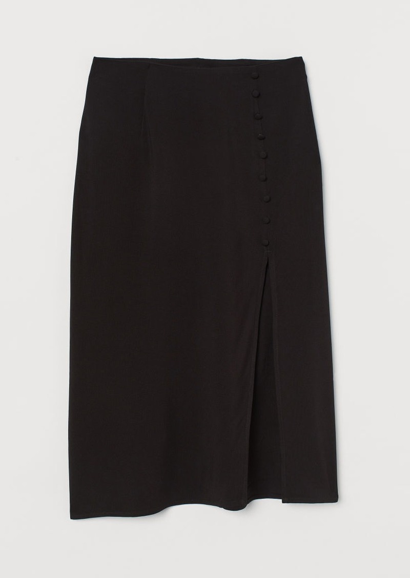 H&M H & M - High-split Skirt - Black