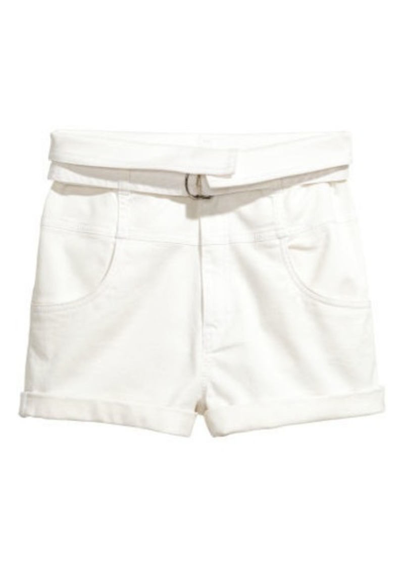 17367f5d9e23 H&M H & M - High-waisted Twill Shorts - White | Shorts
