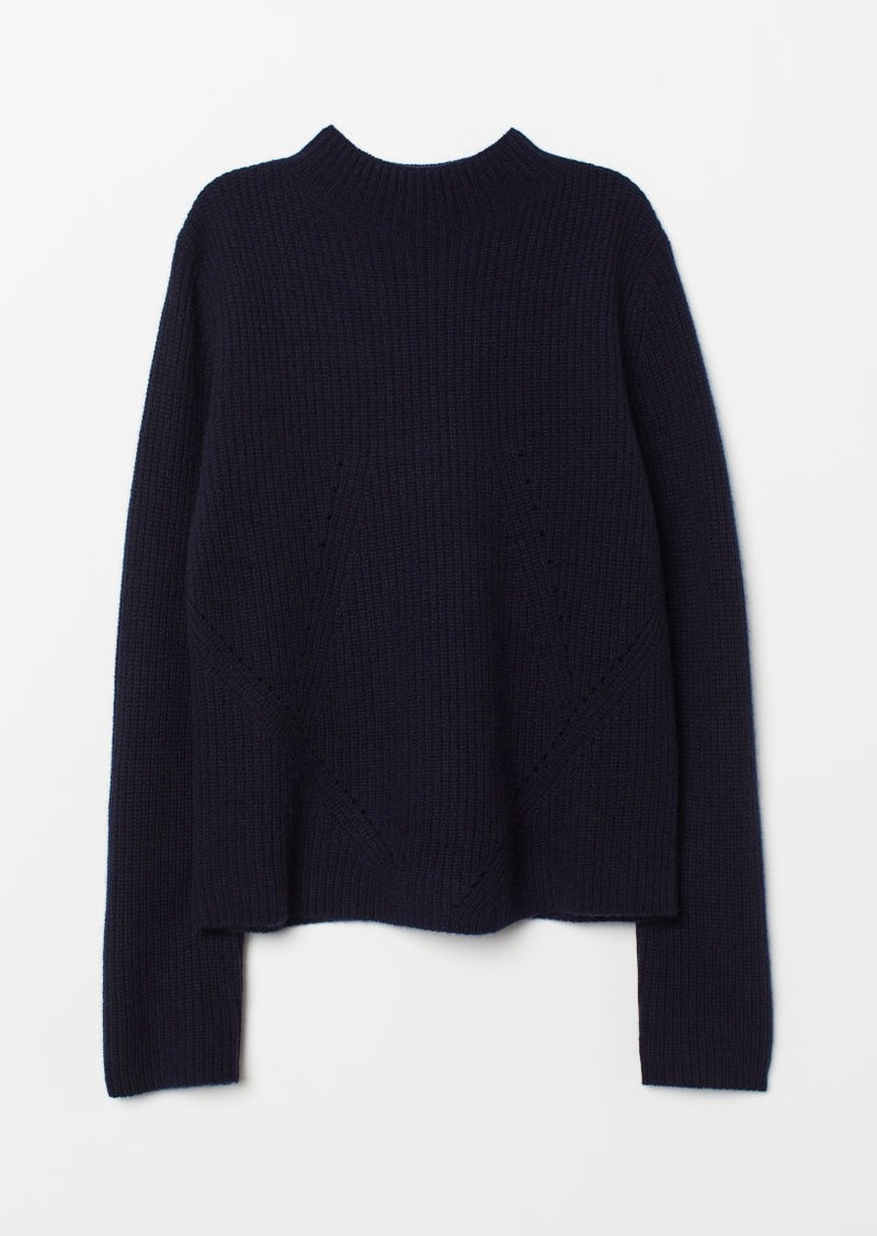 H&M H & M - Hole-pattern Cashmere Sweater - Blue