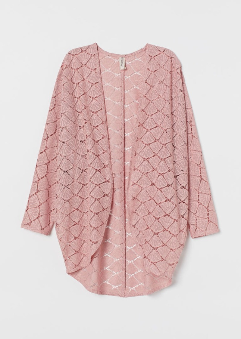 H&M H & M - Hole-patterned Cardigan - Pink