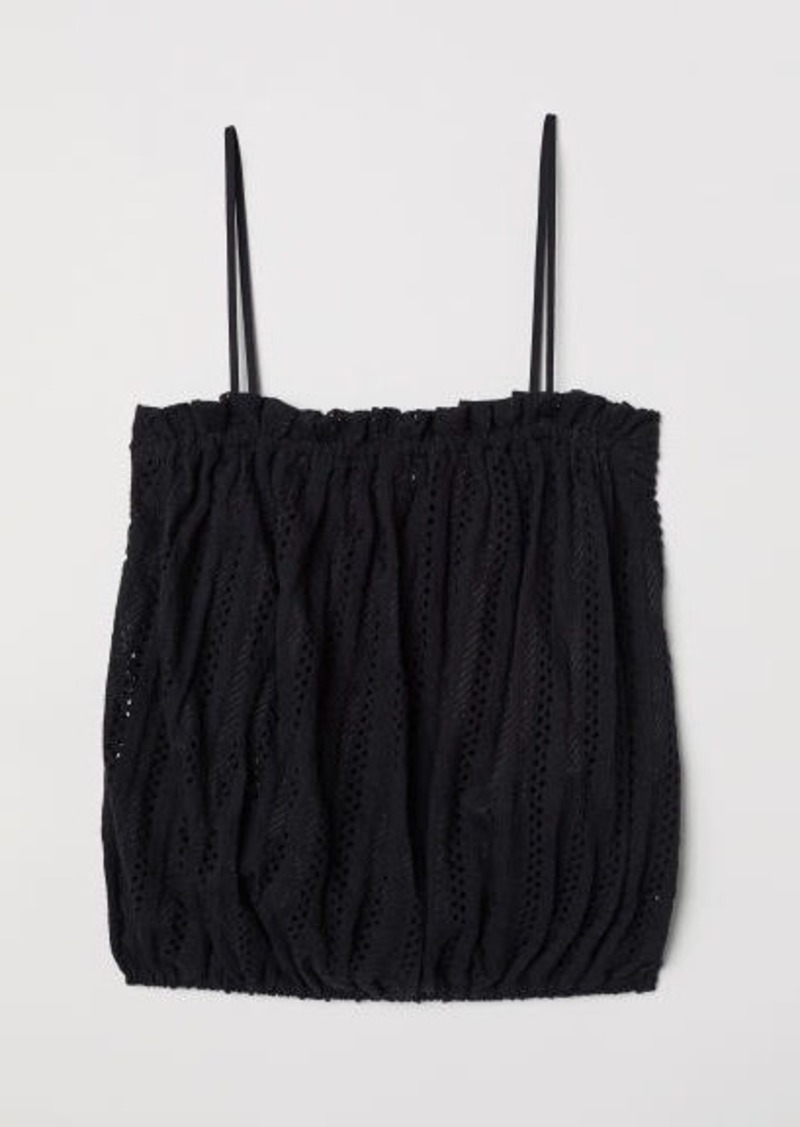 H&M H & M - Hole-patterned Jersey Top - Black