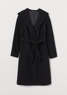 H&M H & M - Hooded Coat - Black