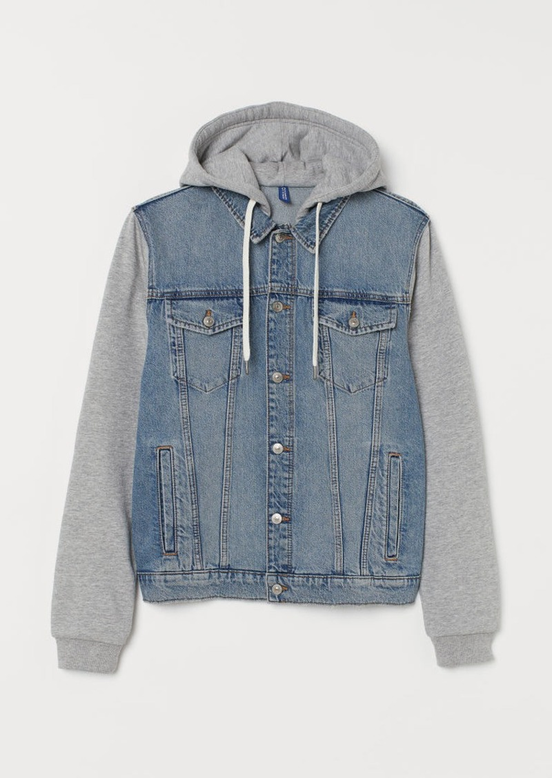 H&M H & M - Hooded Denim Jacket - Blue