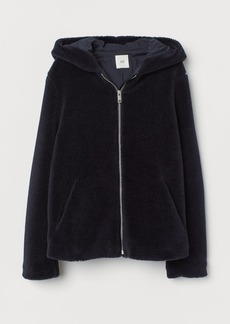 H&M H & M - Hooded Faux Shearling Jacket - Blue
