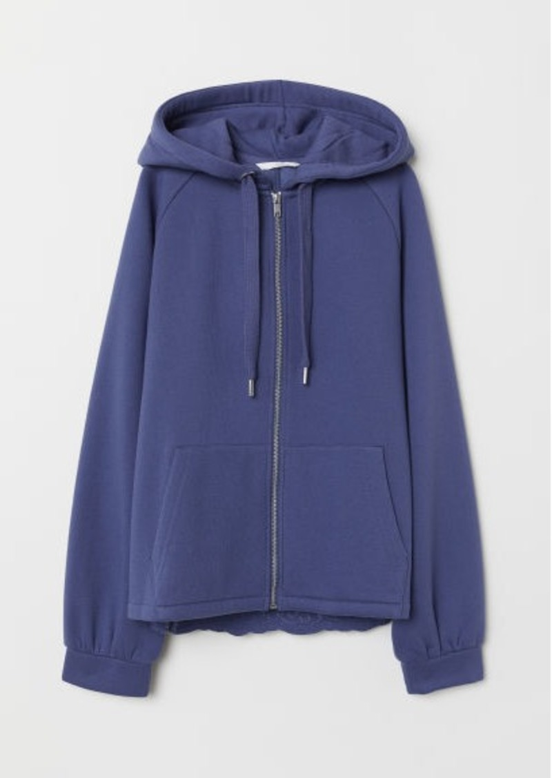 H&M H & M - Hooded Jacket with Embroidery - Blue