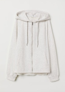 H&M H & M - Hooded Jacket with Embroidery - Gray