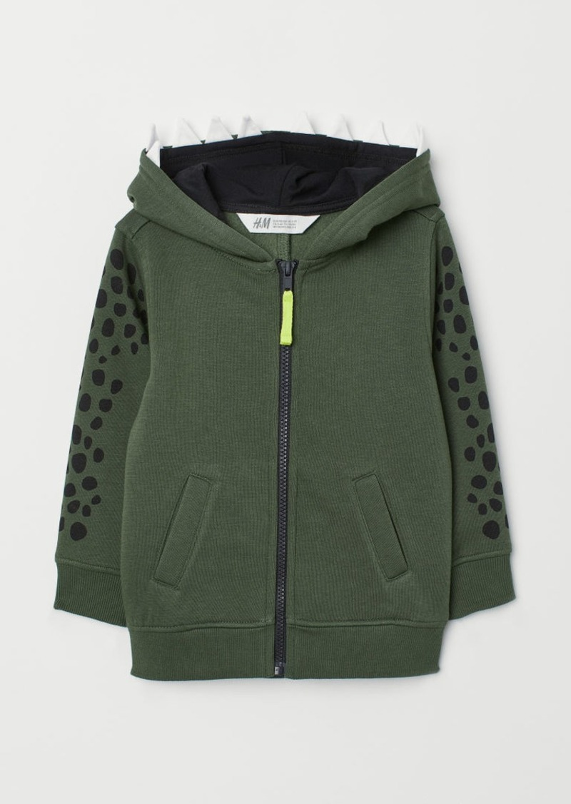H&M H & M - Hooded Jacket with Motif - Green