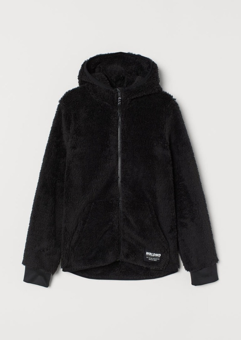 H&M H & M - Hooded Faux Shearling Jacket - Black