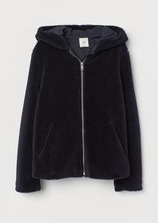 H&M H & M - Hooded Pile Jacket - Blue