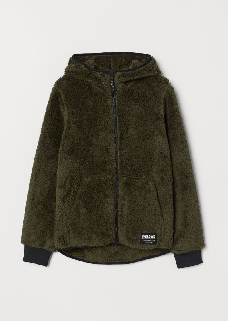 H&M H & M - Hooded Faux Shearling Jacket - Green