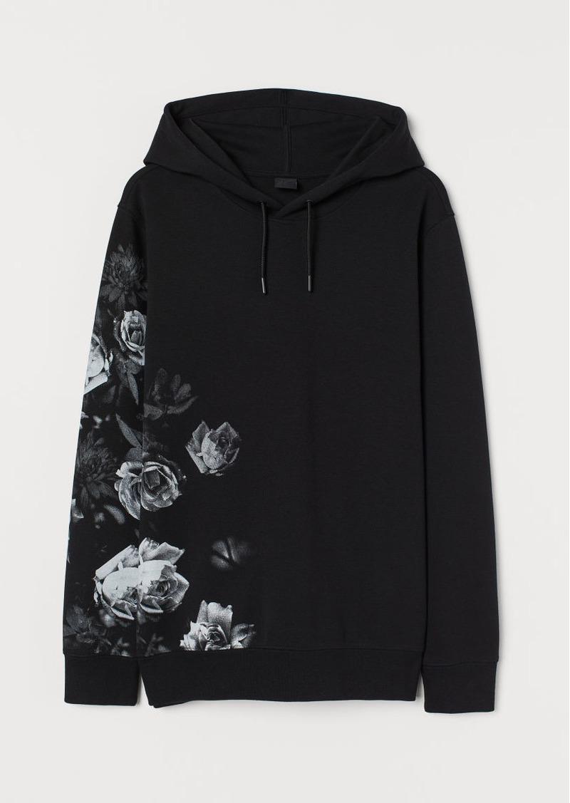 H&M H & M - Printed Hoodie - Black