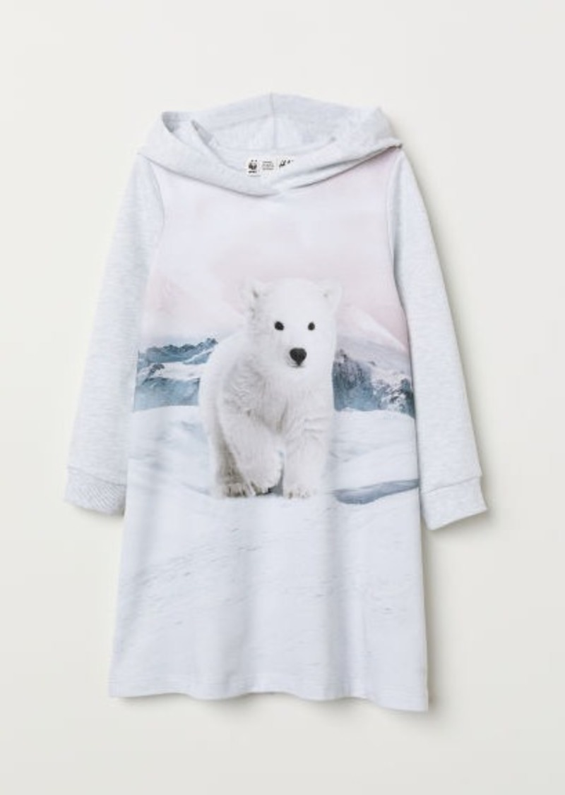 H&M H & M - Hooded Sweatshirt Dress - Gray